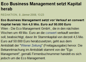 ECO Business setzt Kapital herab