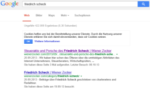 Suchbegriff Friedrich Scheck auf Google