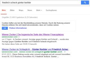 Google Suche nach Friedrich Scheck und Günter Kerbler